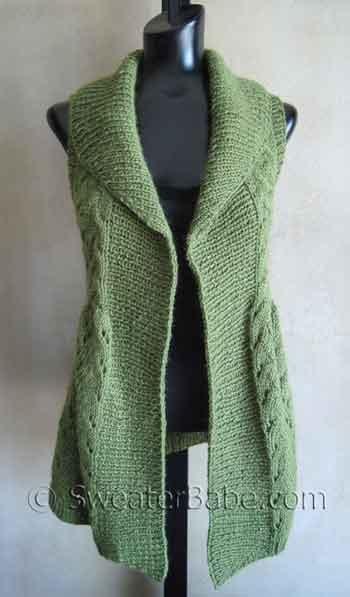 ##111 Long Lace Shawl-Collar Vest PDF Knitting Pattern  Women's Vests #2dayslook #fashion #Vests www.2dayslook.com