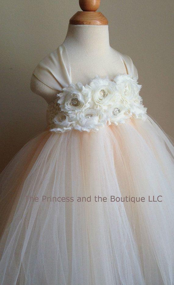Flower girl dress tutu dress champagne, ivory chiffton roses, baby tutu dress, toddler tutu dress,newborn-24, 2t,2t,4t,5t, birthday