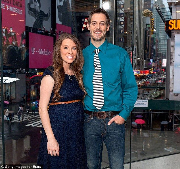 Proud parents: Jill Duggar Dillard and husband Derick Dillard at Extra's New York Studios ...