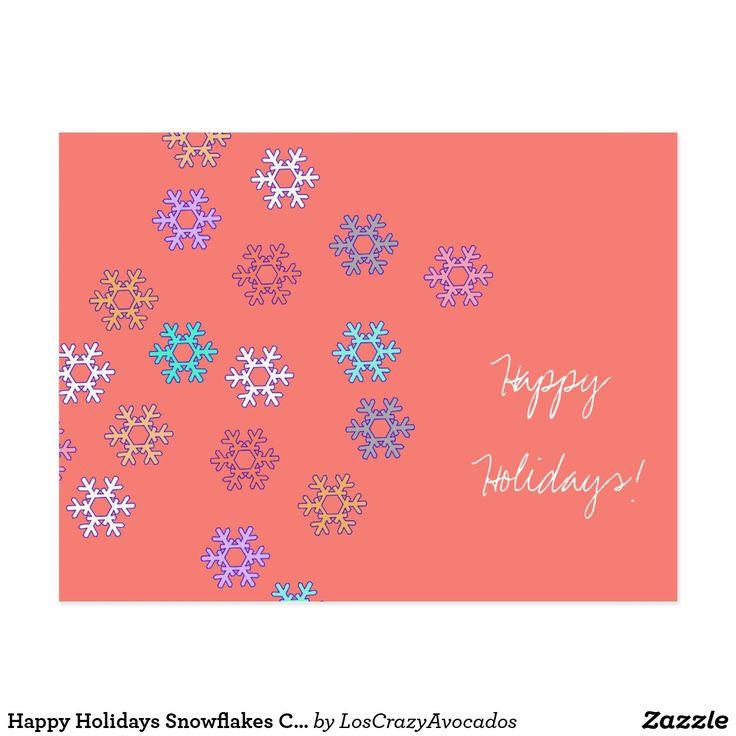 Happy Holidays Snowflakes Coral Postcard