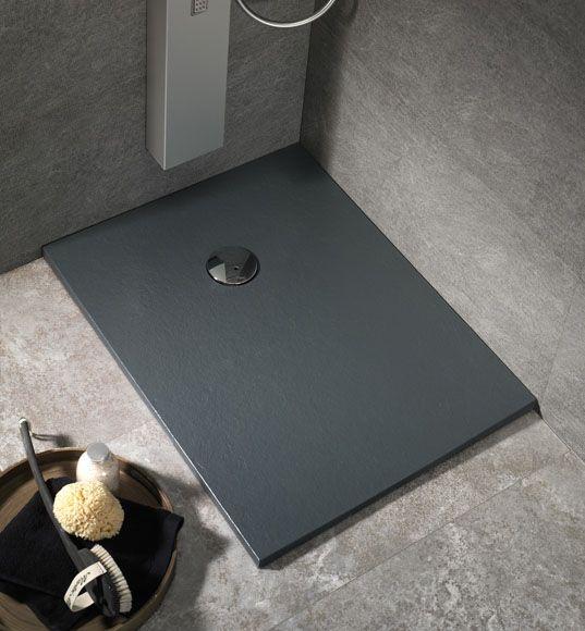 Plato de ducha rectangular de carga mineral Compact.