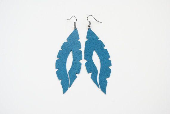 Teal earrings  feather earrings leather earrings by elfinadesign