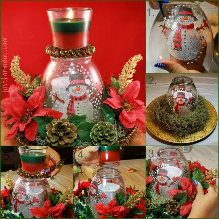 Decoraci n navide a con vela arom tica gladeholidaymood - Adornos navidenos con velas ...