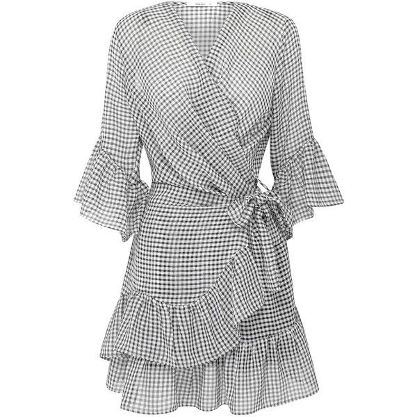 GINGHAM DRESS ($120) ❤ liked on Polyvore featuring dresses, sheer-sleeve dress, flared dresses, gingham dress, waist belts and flare sleeve dress