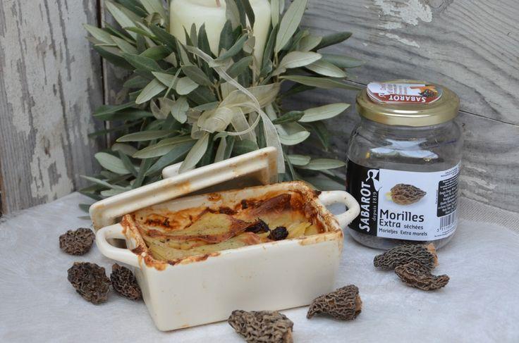 Recette Sabarot | Gratin de pommes de terre aux morilles Sabarot ( morilles, champignons) délicieux, gourmand, pas sec, gouteux.