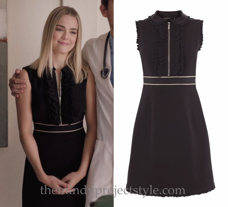 """Anna's black ruffled zip-front dress from """"Danny in Real Life"""" #themindyproject #dress #fashion"""