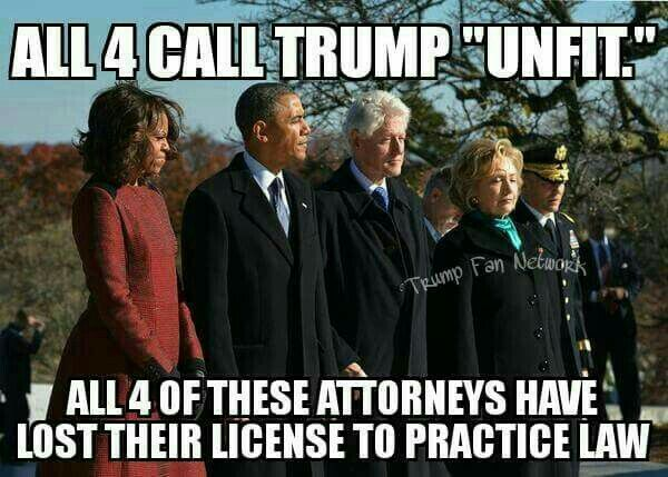 Both Bill and Hillary Clinton, and both Barrack and Michelle/Michael Obama have lost their licence to practice law. Food for thought. ~@guntotingkafir GOD BLESS AMERICA AND GOD BLESS PRESIDENT TRUMP!!!