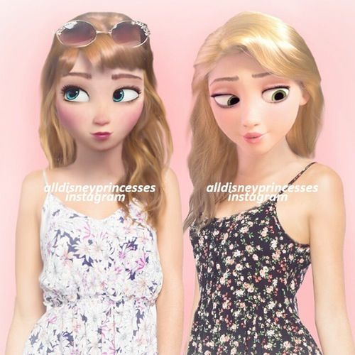 Princess Anna and Rapunzel Modern Disney Princesses