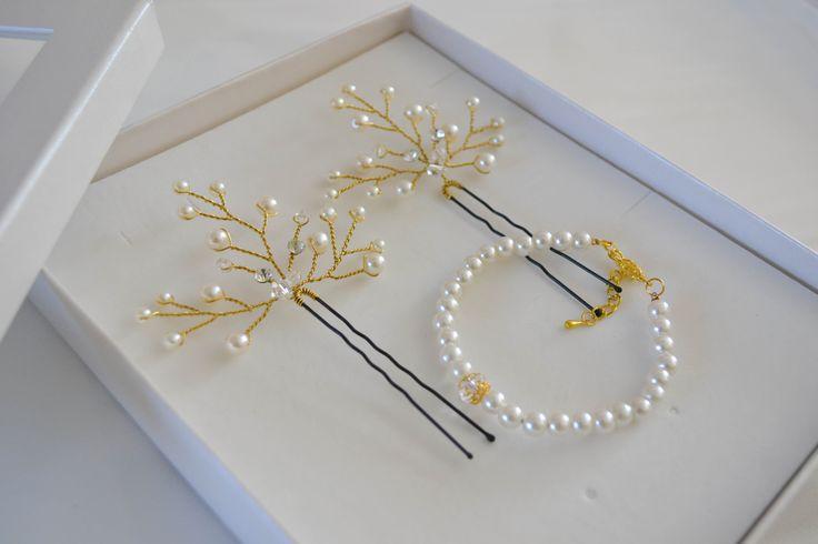 Hair pins gold || Arany hajdísz