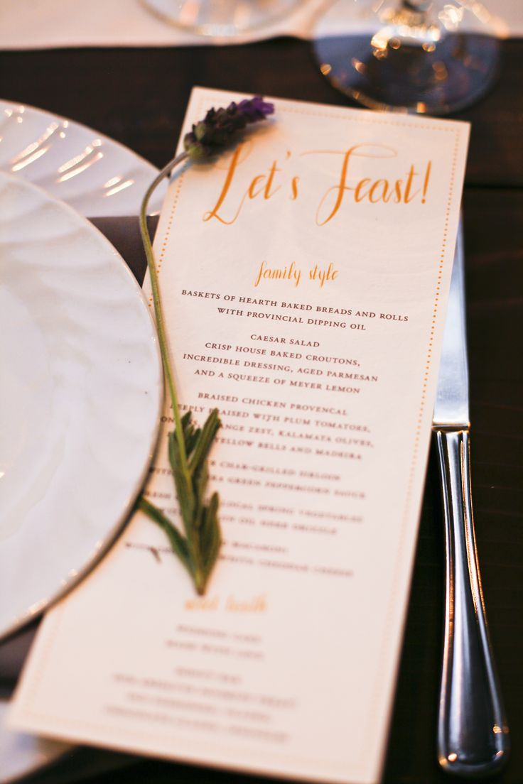 Our custom designed menu for our family style reception dinner - with fresh herbs for each place setting.