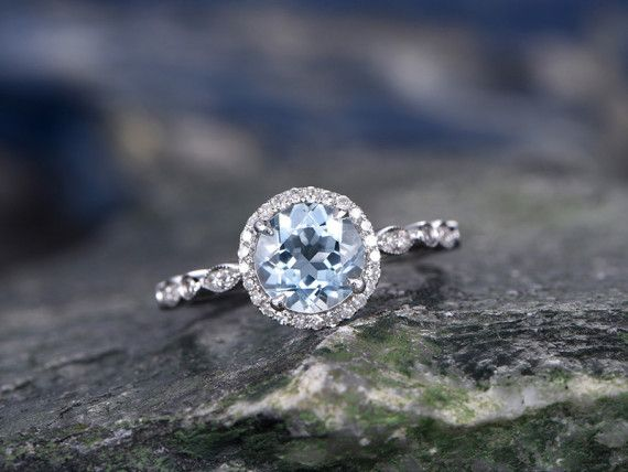 Round Aquamarine Wedding Rings Solid 14K White Gold Engagement Ring Marquise Antique Design