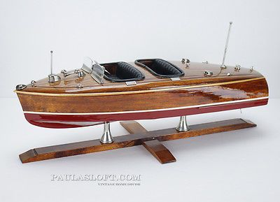 Vintage Model Chris Craft Boat Display Nautical Wood Mid Century Beach Decor