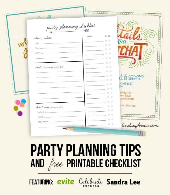 livelaughrowe.comとパーティーの計画のヒントと印刷用のチェックリスト