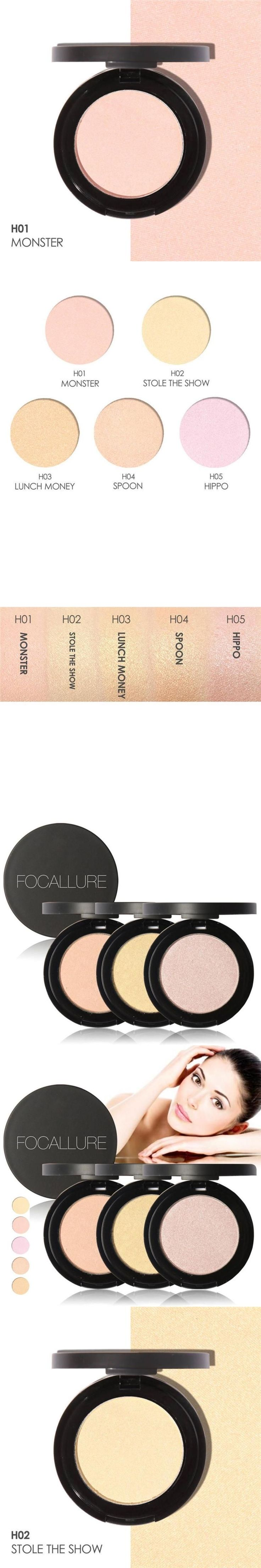 FOCALLURE Makeup Face Highlighter Bronzer Press Powder Brightener Highlight and Contour Palette Easy to Wear Cosmetic Powder Z3