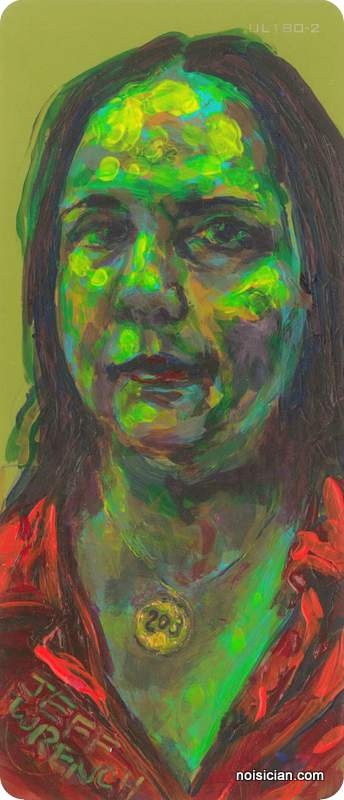 """""""Lisa Kereszi"""" by Jeff Wrench. Lisa is a photographer I met while exhibiting my paintings. Acrylic on paint chip."""