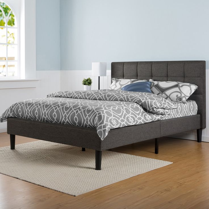 Priage Upholstered Square Sched Platform Bed With Wooden Slats King
