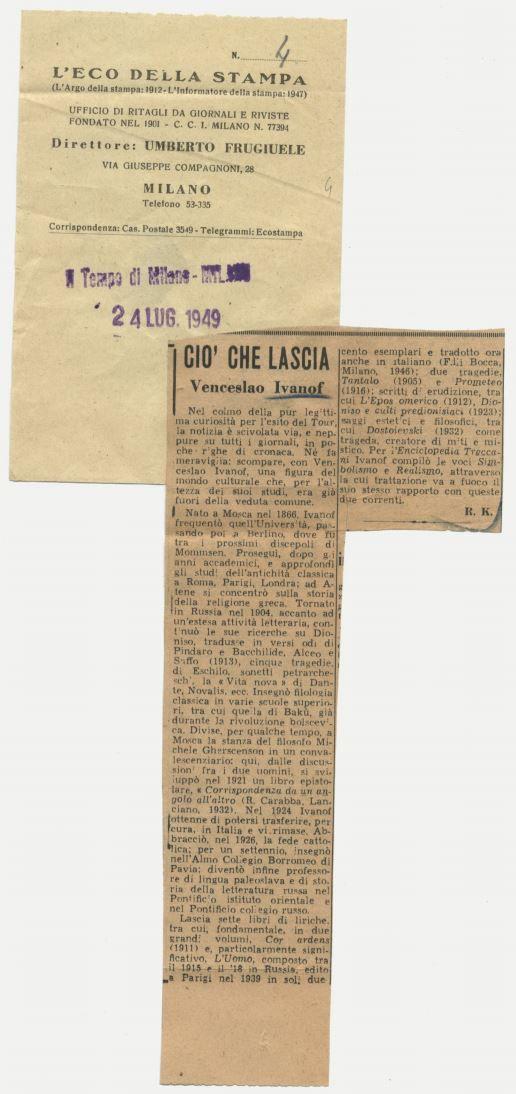 Ritaglio Storico del 1949 - Ivanof
