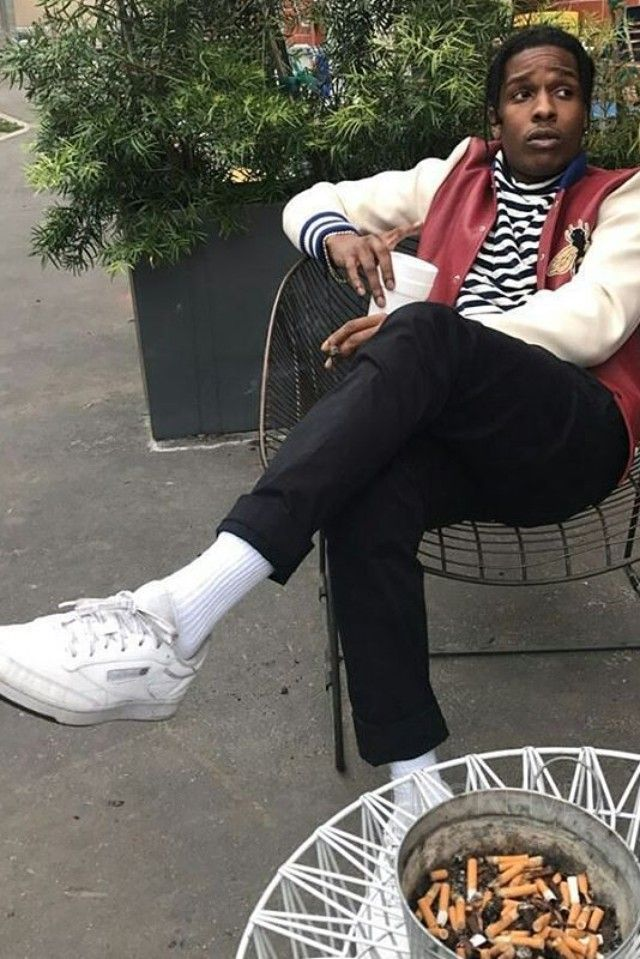 ASAP Rocky wearing Reebok Palace Club C Sneakers, Gucci Leather and Felt Jacket with Embroideries