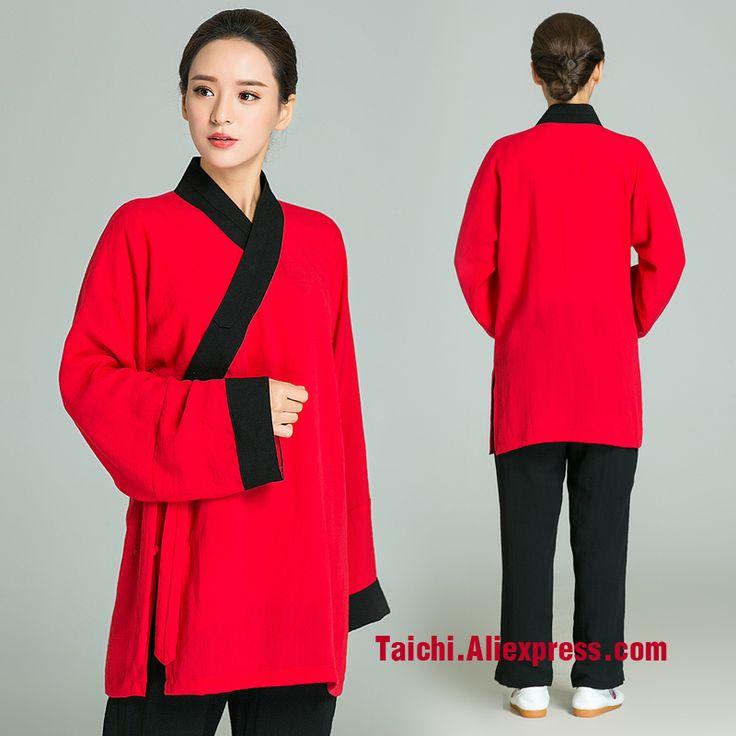 Surplice Handmade Linen Tai Chi Uniform Women  Female Kung Fu martial Art Suit Chinese Stlye Sportswear Red Jacket black Pants