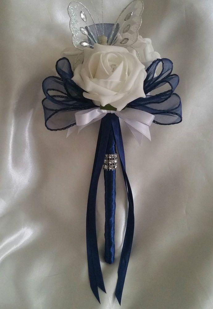 Wedding Flowers Bridesmaids Bouquet Wands White Butterfly Wand Navy Blue Satin