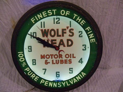 Wolfs Head Motor Oil Neon Clock Advertising Gas Pumps