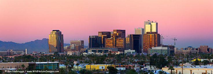 PHOENIX PANORAMIC PHOTOS Panoramic photo of the Downtown Phoenix Skyline at sunrise, Phoenix, Arizona