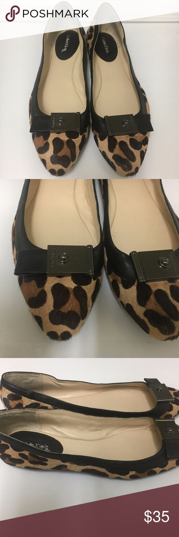 "Calvin Klein Parkley Leopard Ballet Flats   9 Calvin Klein Leopard Print Calf Hair Leather Ballet Flats Pewter buckle with ""Calvin Klein"" and black leather tab Beautiful rich browns and black print Size 9M Only worn once Very nice From a smoke free home Calvin Klein Shoes Flats & Loafers"