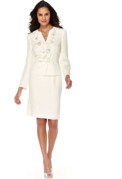 17 best images about tahari on pinterest shops collar for Womens white dress suit wedding