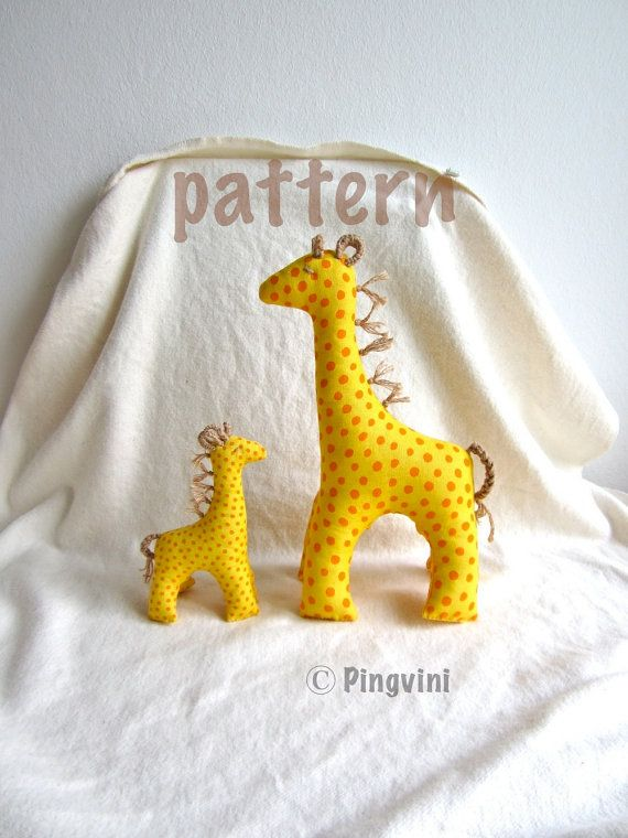 Giraffe pattern, sewing pattern, giraffe with baby sewing pattern and tutorial, PDF file, instant download on Etsy, $10.00