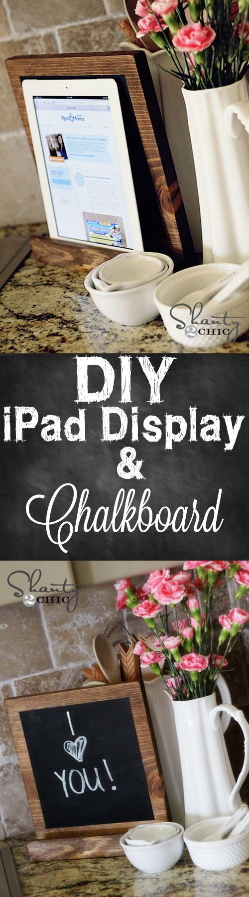 iPad Display that doubles as a chalkboard... Love it! These would make a great, cheap Christmas gift! #DIY #Christmas