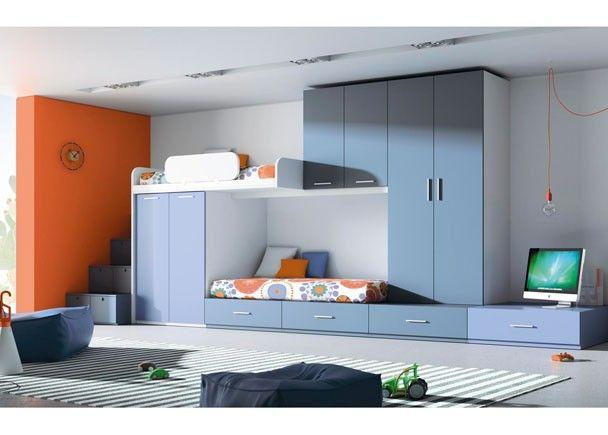 Dormitorio juvenil con 2 camas tren y escalones for Camas tren juveniles