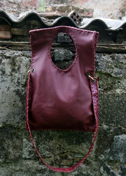Bordeaux Red Leather Bag - Handmade Geometric Mess from Eleanna Katsira Fashion Accessories Athens by DaWanda.com