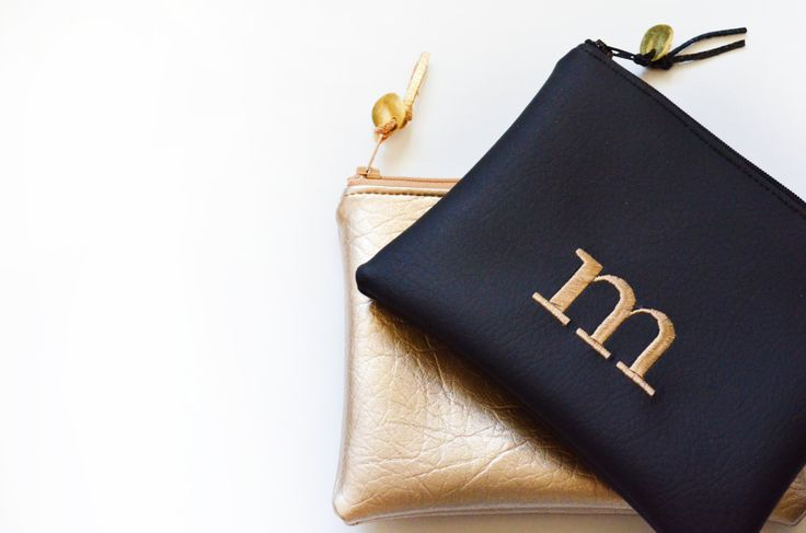Initial Clutch Purse Custom Personalized Gift for Her Bridesmaids Gift Handbag Gold Black White Faux Leather Christmas Gift Cosmetic Pouch by loliscreations on Etsy