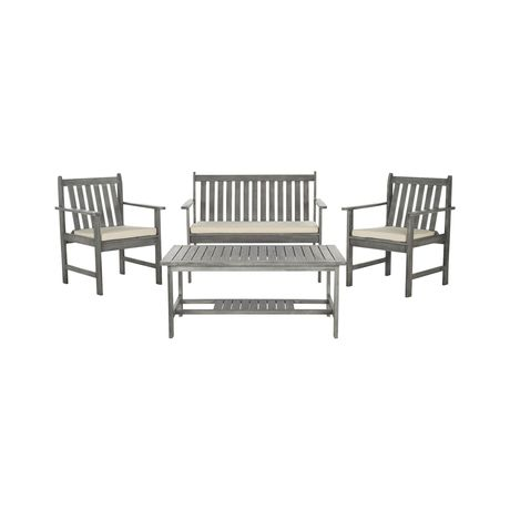 Bring a touch of rustic charm to your patio or garden hangout with this gorgeous Rosewood Outdoor Dining Set. Made from eco-friendly acacia wood, this set offers a modern take on classic Shaker-style f...  Find the 4-Pc. Rosewood Outdoor Dining Set, as seen in the Rustic Outdoor Charm Collection at http://dotandbo.com/collections/rustic-outdoor-charm?utm_source=pinterest&utm_medium=organic&db_sku=118187