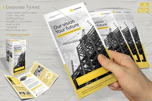 Tri-fold Corporate Vol. 5 by MrTemplater on @creativemarket brochure design templates 3 fold brochure template tri fold brochure design leaflet template tri fold brochure template word online brochure maker print brochures 3 fold brochure brochure template