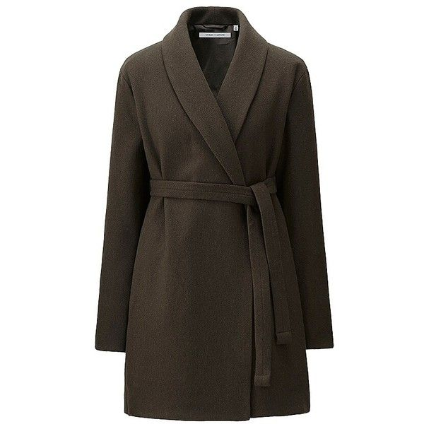 UNIQLO Lemaire Cashmere Blended Short Coat ($200) ❤ liked on Polyvore featuring outerwear, coats, wrap coat, cashmere blend coat, brown coat, uniqlo and uniqlo coat