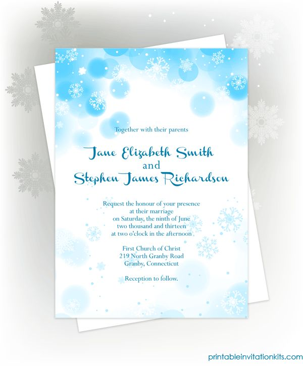 free pdf download  snowflakes winter invitation for winter