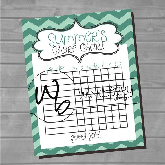 Chore Chart 8x10 Printable Instant download add by WinkberryDesign, $4.00