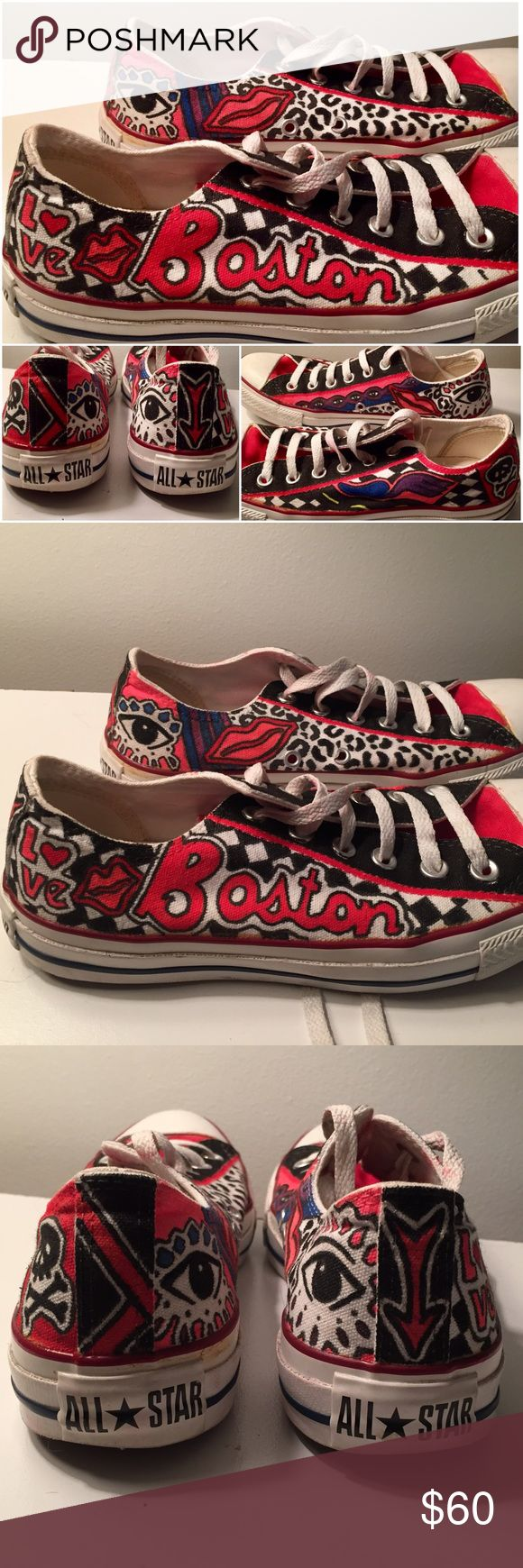 Converse. Size 7 women's. Design made with fabric markers. Worn only twice. Converse Shoes Sneakers