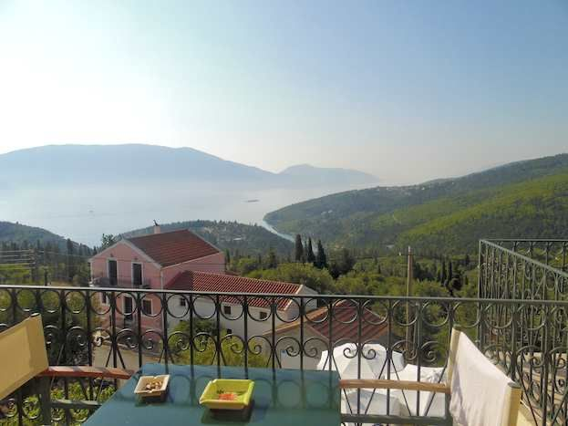 View across to Ithaca from a balcony at the Agnantia Hotel