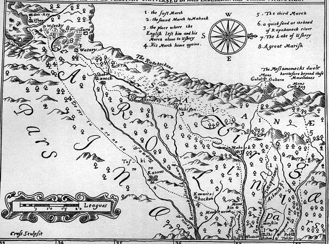 """The word Monetons is Siouan,  may be Cherokee instead.  Mohetan said  their villages were about halfway between Peters' Mt and Ohio River. Hale and Mooney defines Siouan """"Mon"""", """"Ma"""" and """"Man"""" as meaning a people's land. """"Mone"""" means water, """"ton"""" means large.   A recent study of 9000 pottery shards from Fort Ancient sites in  Kanawha and Ohio River valleys showed that 37percent of them bore corncob impressions similar to those produced in the Siouan villages of Virginia between 1400 and 1600"""