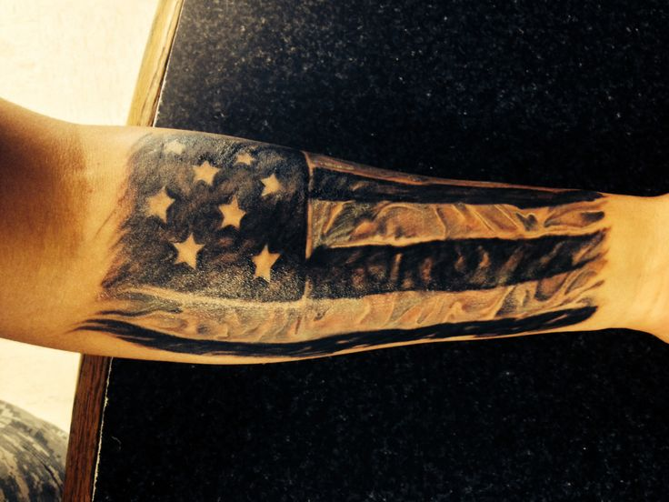 american flag tattoo on arm