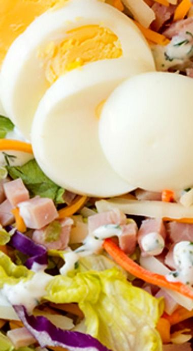Ham and Cheese Salad with Homemade Ranch Dressing