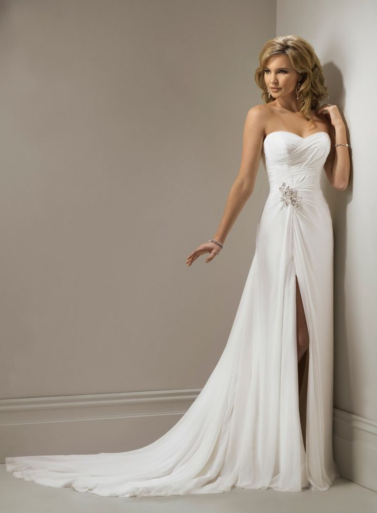 Chiffon Sweetheart Neckline A Line Wedding Dress