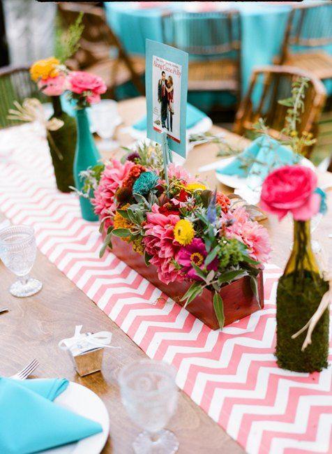 Fun, bright colors. Love the chevron for the table.