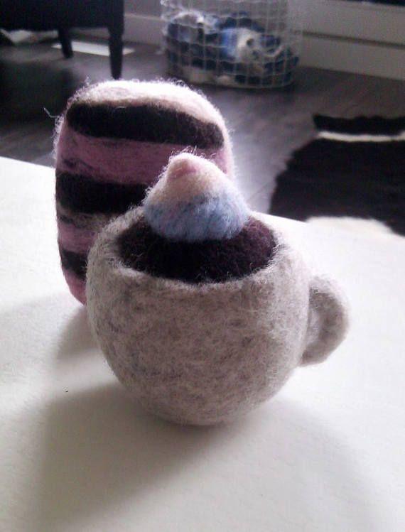 Coffee and cake dryer balls handmade wool needle felted