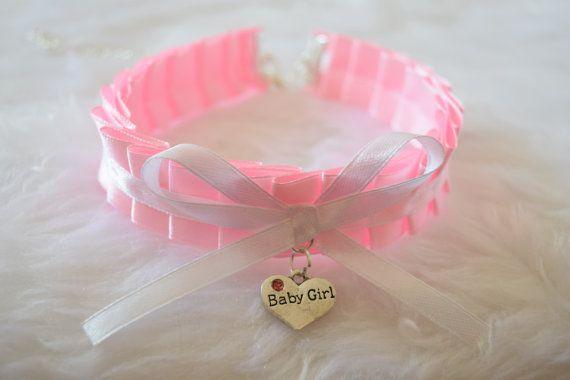 Baby Girl Heart Pink Ruffled Ribbon Choker Ddlg Bdsm