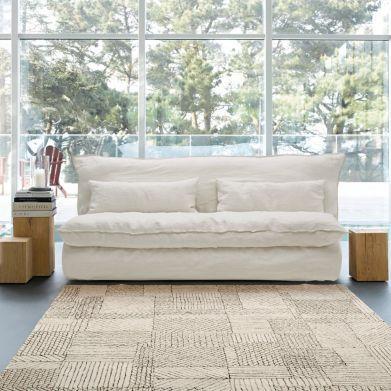 canap fixe ou convertible en pur lin froiss basile. Black Bedroom Furniture Sets. Home Design Ideas