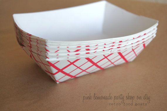 Small ReTRo Red CHeCK Food BoaTs- and Free Diy labels-email file-Birthday Parties--Sports theme--circus--Baseball- Nachos---Cookout--25ct on Etsy, $3.95