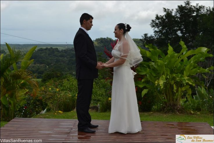 Bride and Groom on the deck of one of our homes. #costaricawedding #costarica